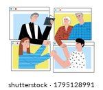 a group of people with pastor... | Shutterstock .eps vector #1795128991