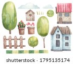set of houses and trees  bushes ...   Shutterstock . vector #1795135174