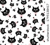 black cat head seamless pattern ... | Shutterstock .eps vector #1795138417