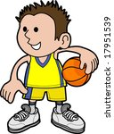 Illustration of young boy holding basketball wearing sports uniform - stock vector
