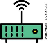 router vector  flat color icon