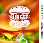 burger label on blurred... | Shutterstock .eps vector #179516141