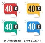 40 euro price. yellow  red ... | Shutterstock .eps vector #1795162144