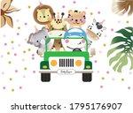 baby safari white background... | Shutterstock .eps vector #1795176907
