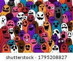 ghost pattern halloween  spooky ... | Shutterstock .eps vector #1795208827
