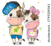 cute cartoon cow and bull on a...   Shutterstock .eps vector #1795209361