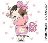 cute cartoon cow on a hearts... | Shutterstock .eps vector #1795209364