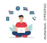 multitasking and time... | Shutterstock .eps vector #1795229161