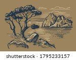 uneven pine tree stands on... | Shutterstock .eps vector #1795233157