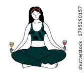 wine yoga illustration. young... | Shutterstock .eps vector #1795290157