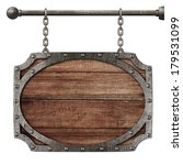 medieval wooden sign hanging on ...   Shutterstock . vector #179531099