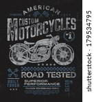 Vintage Motorcycle T-shirt Graphic  - stock vector