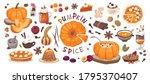set of elements pumpkin spice ... | Shutterstock .eps vector #1795370407
