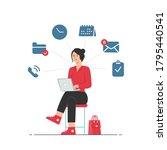 multitasking and time... | Shutterstock .eps vector #1795440541
