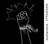 hand drawn of doodle hands up.... | Shutterstock .eps vector #1795453354