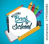 back to school poster with rule ...   Shutterstock .eps vector #1795504081