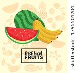 fresh local fruits lettering...   Shutterstock .eps vector #1795504204