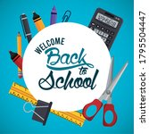 back to school poster with...   Shutterstock .eps vector #1795504447