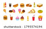 set fast food icon. cup cola ... | Shutterstock .eps vector #1795574194