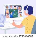 home education concept. a boy...   Shutterstock .eps vector #1795614307
