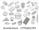 food. fast food. ready meals.... | Shutterstock .eps vector #1795681294