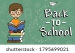 back to school. boy reading....   Shutterstock .eps vector #1795699021