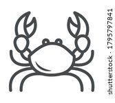 crab with big claws crustacean over white background line style icon vector illustration