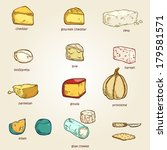 vector set of random cheese 02