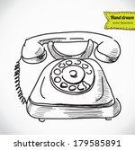vintage phone sketch cartoon...