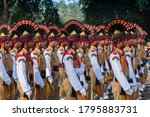 Kolkata, West Bengal, India - 26th Januaray 2020 : Bright and beautiful decorated hats of Indian Army Officers , while marching past with rifles, at Republic day parade. - stock photo