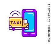 cargo taxi color line icon....