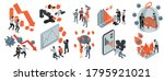 Isometric Icons Set With Peopl...