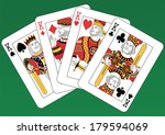 Four Kings Playing Cards On A...
