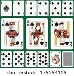 Playing cards spade suit joker and back. Faces double sized. Green background in a separate level