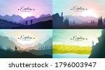 vector landscapes set. travel... | Shutterstock .eps vector #1796003947