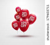 red baloons with discounts.... | Shutterstock .eps vector #179603711
