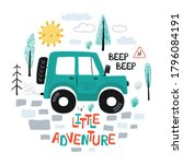 kids poster with car off road...   Shutterstock .eps vector #1796084191
