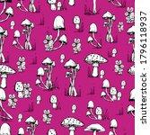 mushroom pattern. handmade... | Shutterstock .eps vector #1796118937