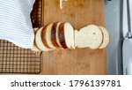 pieces of slices breads on wood ...   Shutterstock . vector #1796139781