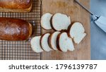 pieces of slices breads on wood ...   Shutterstock . vector #1796139787