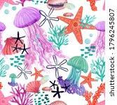 Sea Watercolor Pattern  Ocean...
