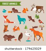 Forest Animals Vector Set Of...
