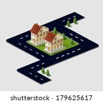 perspective view of the village ... | Shutterstock .eps vector #179625617