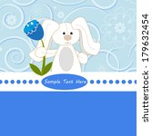white bunny with flower on... | Shutterstock .eps vector #179632454