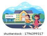back to school kids go to... | Shutterstock .eps vector #1796399317