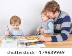 happy family of three  father... | Shutterstock . vector #179639969