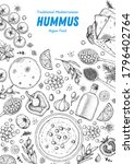 hummus cooking and ingredients... | Shutterstock .eps vector #1796402764