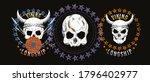 set of four illustrated skulls. ... | Shutterstock .eps vector #1796402977