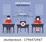 social distancing at school...   Shutterstock .eps vector #1796472967