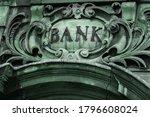 bank sign over entrance door.... | Shutterstock . vector #1796608024